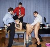 Sexy secretary. Three office guys working in a new secretary babe orally.