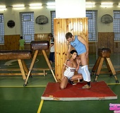 Blow job galleries. Team of basketball players covering a gymnast with