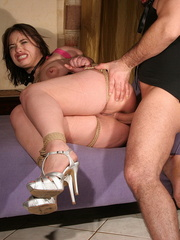Humiliated. Slutty girl in pink gets anal - Unique Bondage - Pic 11