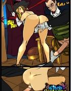 Sexy cartoons. Bound and banged witch.