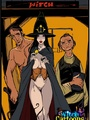Adult cartoons. Stacked witch giving - Picture 1