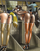 Sexy shaped bondage toon hotties gets used as…