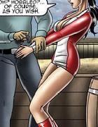 Perverted toon master torturing his bondaged slave girl.