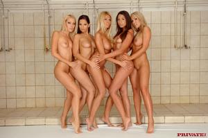 Hardcore College Orgy Bathroom Beautiful blondes. five horny lesbians enrolled in a big <b></b>