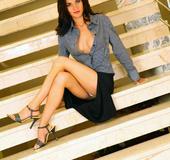 Hot secretary. Julie office slut fucking on the staircase.